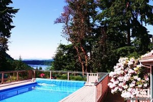 Recreation Station: Pool, spa, sauna, gym & cabana with views over St. Mary Lake.